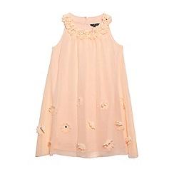 Star by Julien Macdonald - Designer girl's peach applique flower dress