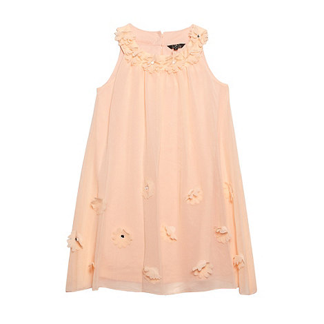 Star by Julien Macdonald - Designer girl+s peach applique flower dress