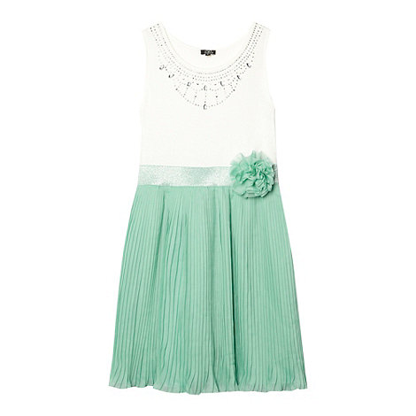 Star by Julien Macdonald - Designer girl+s light green pleated embellished dress