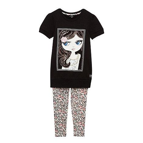 Star by Julien Macdonald - Designer girl+s black embellished top and leggings set