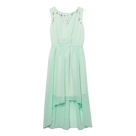 Star by Julien Macdonald - Designer girl's light green jewel neck dress