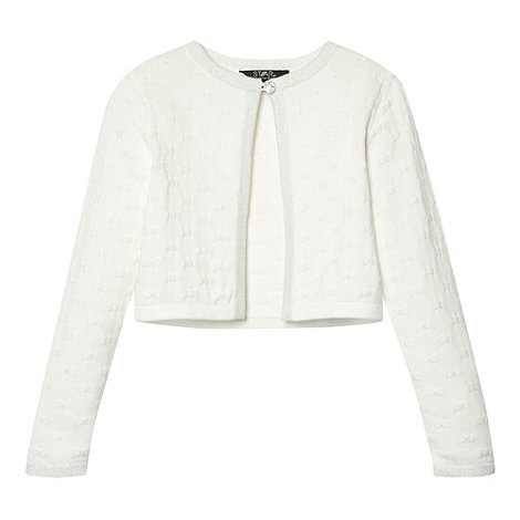 Star by Julien Macdonald - Designer girl+s cream bow knitted cardigan