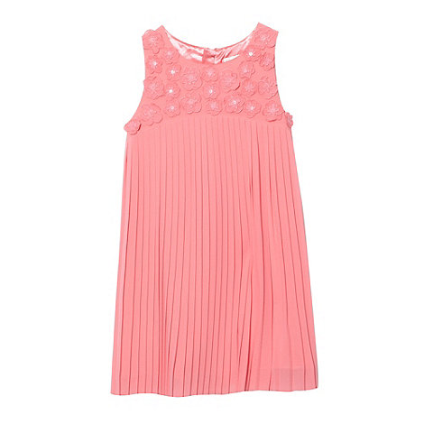 RJR.John Rocha - Designer girl's coral applique flower pleated dress