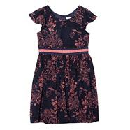 Designer girl's navy oriental floral dress