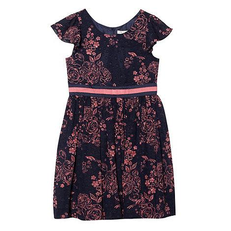 RJR.John Rocha - Designer girl+s navy oriental floral dress