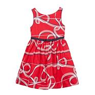 Designer girl's red ribbon pattern party dress