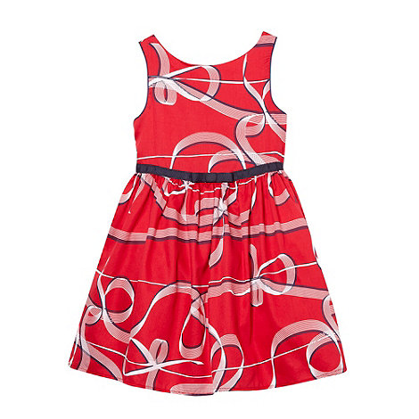 J by Jasper Conran - Designer girl+s red ribbon pattern party dress