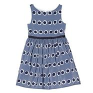 Designer girl's blue spot prom dress