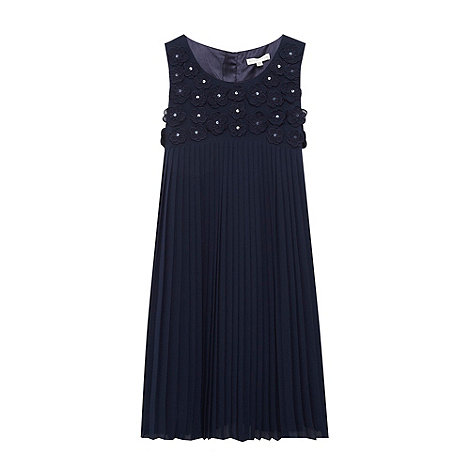 RJR.John Rocha - Designer girl+s navy pleated applique flower dress