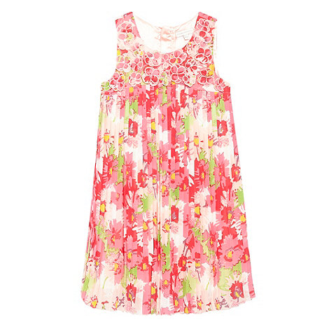 RJR.John Rocha - Designer girl+s pink floral pleated dress