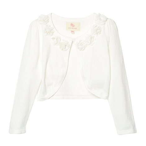 RJR.John Rocha - Designer girl+s off white flower trim cardigan