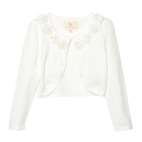 RJR.John Rocha - Designer girl+s off white flower trim cardigan