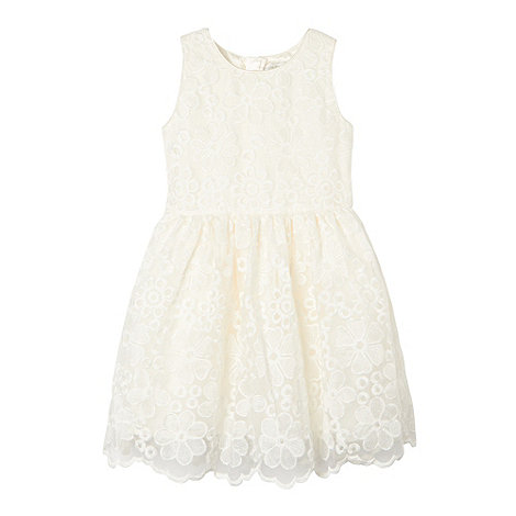 RJR.John Rocha - Designer girl+s off white embroidered dress