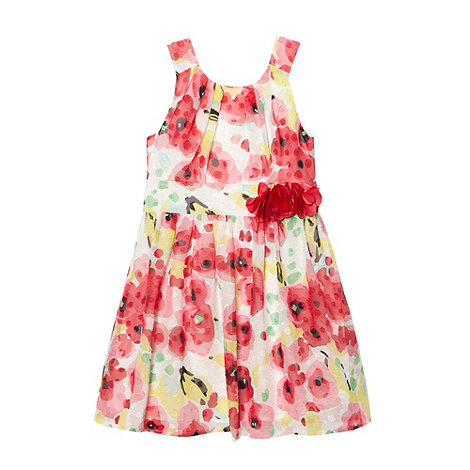 RJR.John Rocha - Designer girl+s off white blurred floral dress