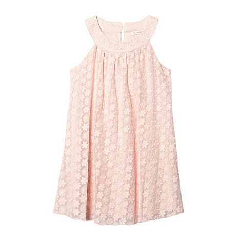 bluezoo - Girl+s pink floral embroidered mesh dress