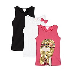 bluezoo - Pack of three girl's black white and pink girl printed vests