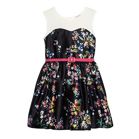 bluezoo - Girl+s black floral bodice belted dress