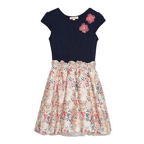 bluezoo - Girl+s navy shirred mock skirt dress