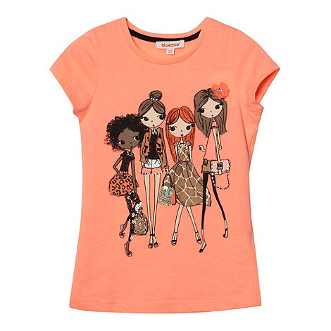 bluezoo - Girl+s orange embellished girl print t-shirt