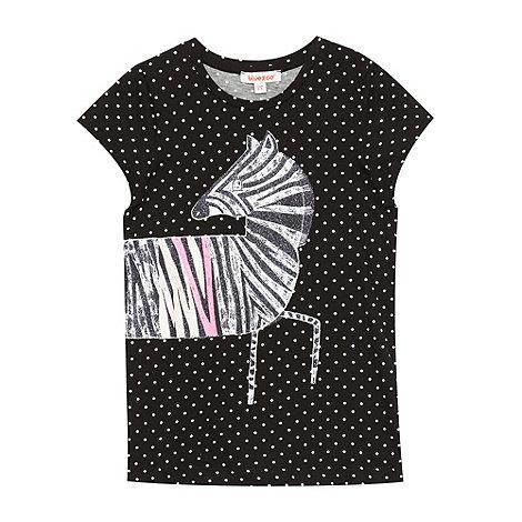 bluezoo - Girl+s black spotted zebra glitter print t-shirt