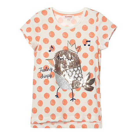 bluezoo - Girl's coral spotted 'Feeling Chirpy' t-shirt