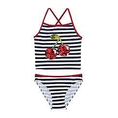 bluezoo - Girl's navy striped sequin cherry tankini set