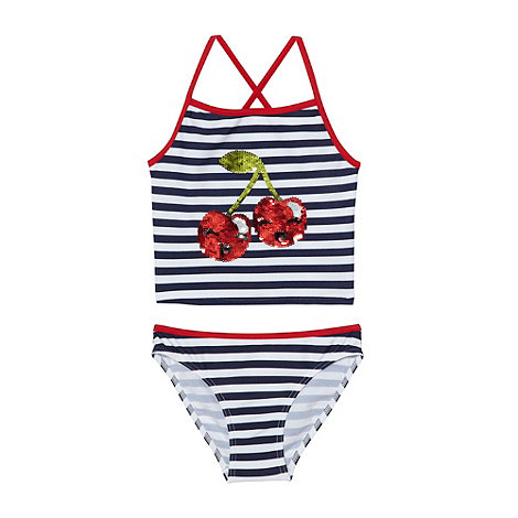 bluezoo - Girl+s navy striped sequin cherry tankini set