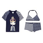 Girl's navy star girl three piece swim set