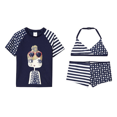 bluezoo - Girl's navy star girl three piece swim set