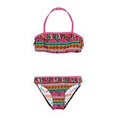 bluezoo - Girl's pink tribal print bikini