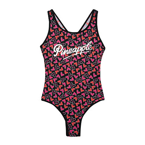 Pineapple - Girl+s pink heart swimsuit