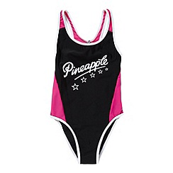 Pineapple - Girl's black panelled logo swimsuit
