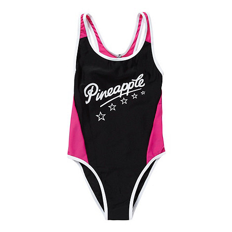 Pineapple - Girl+s black panelled logo swimsuit
