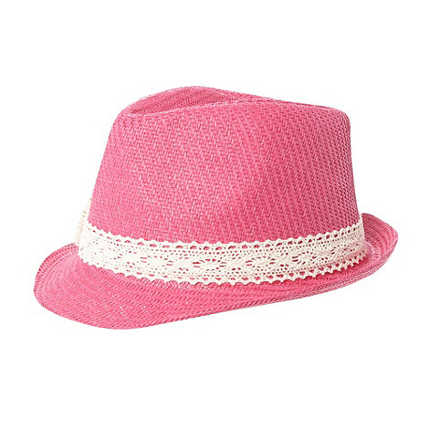 bluezoo - Girl's pink lace bow trilby hat