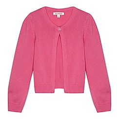 bluezoo - Girl's pink single button cardigan