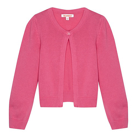 bluezoo - Girl+s pink single button cardigan