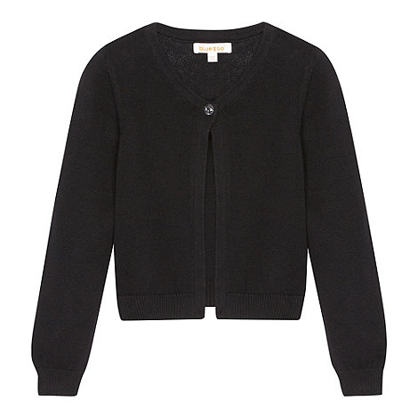 bluezoo - Girl+s black single button cardigan