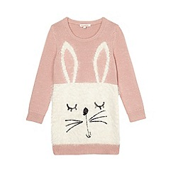 bluezoo - Girl's light pink knitted rabbit tunic