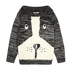 bluezoo - Grey knit dog print hooded jumper