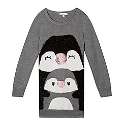 bluezoo - Girl's grey penguins knitted tunic