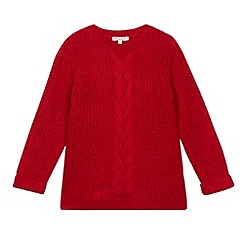 bluezoo - Girl's red cable knit jumper