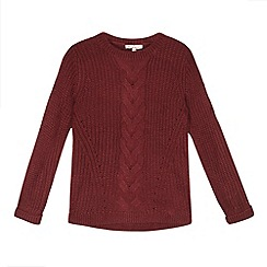 bluezoo - Girl's maroon cable knit jumper