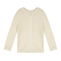 bluezoo - Girl's cream cable knit jumper