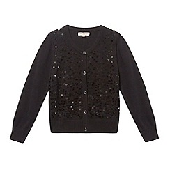 bluezoo - Girl's black sequin diamond button fastening cardigan