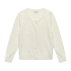bluezoo - Girl's cream sequin diamond button fastening cardigan