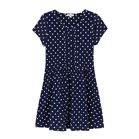 bluezoo - Girl+s navy spotted jersey dress