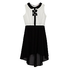 bluezoo - Girl's black bow detail dipped hem dress