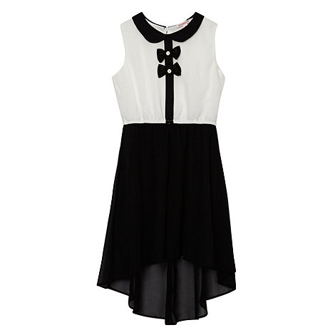 bluezoo - Girl+s black bow detail dipped hem dress