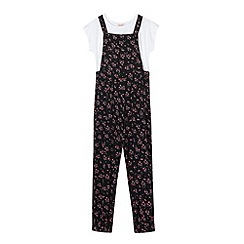 bluezoo - Girl's black ditsy floral dungarees and t-shirt set