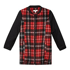 bluezoo - Girl's red tartan zip through coat